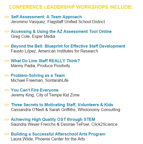 Arizona center for afterschool excellence 2015 ost conference leadership track malvernweather Image collections