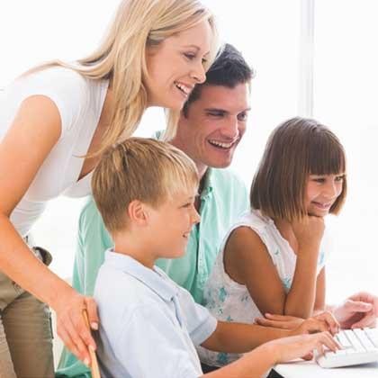 Family at computer